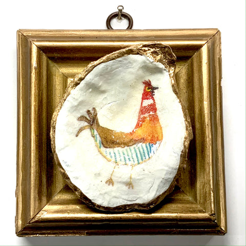 Wooden Frame with Funky Chicken Oyster Shell (4