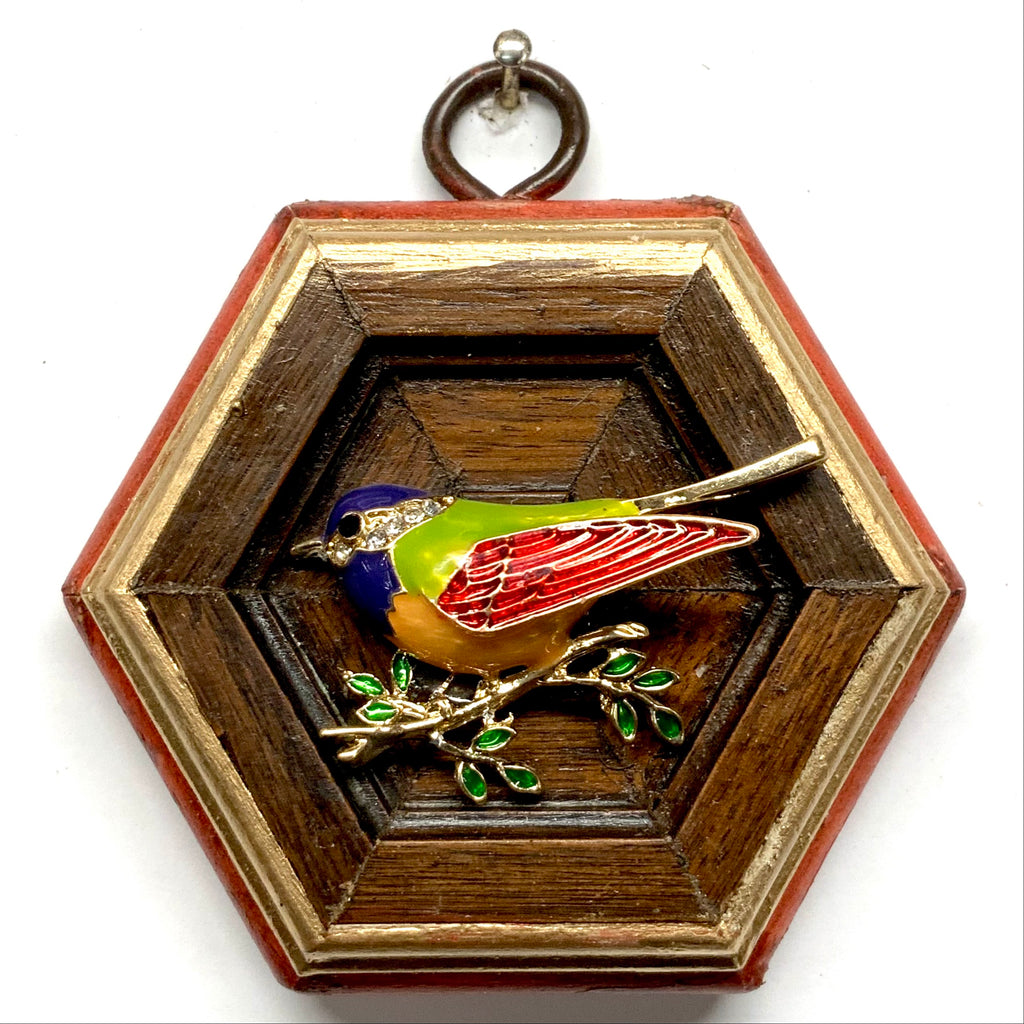 Painted Frame with Enameled Bird (3