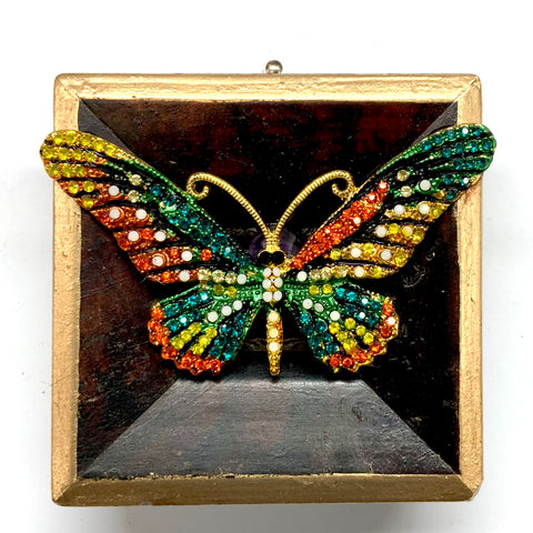 Wooden Frame with Butterfly Brooch (3
