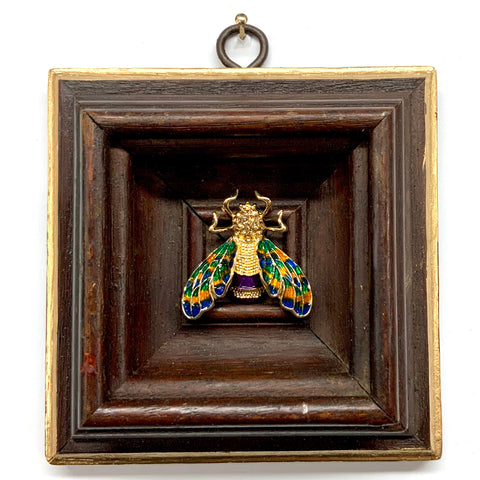 Wooden Frame with Enameled Bee (4.25