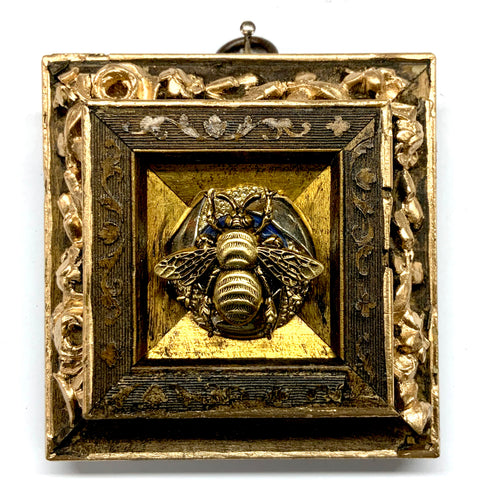 Wooden Frame with Grande Bee on Brooch (3.25