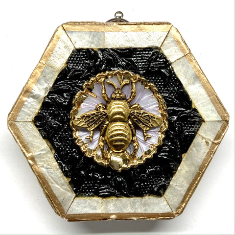 Mother of Pearl Frame with Grande Bee on Brooch (3