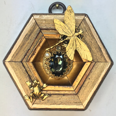 Gilt Frame with Dragonfly and Frog (3