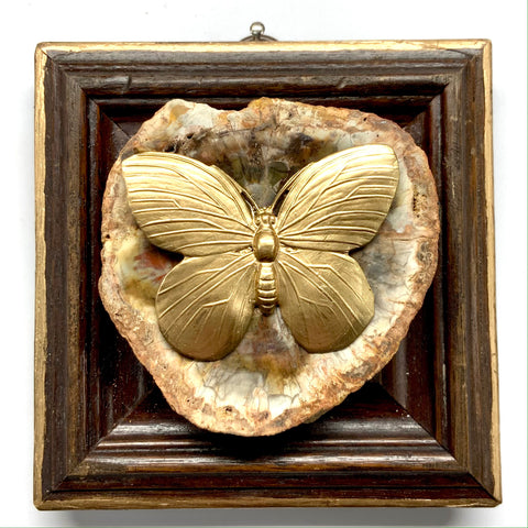 Wooden Frame with Butterfly on Petrified Wood Piece (3.75