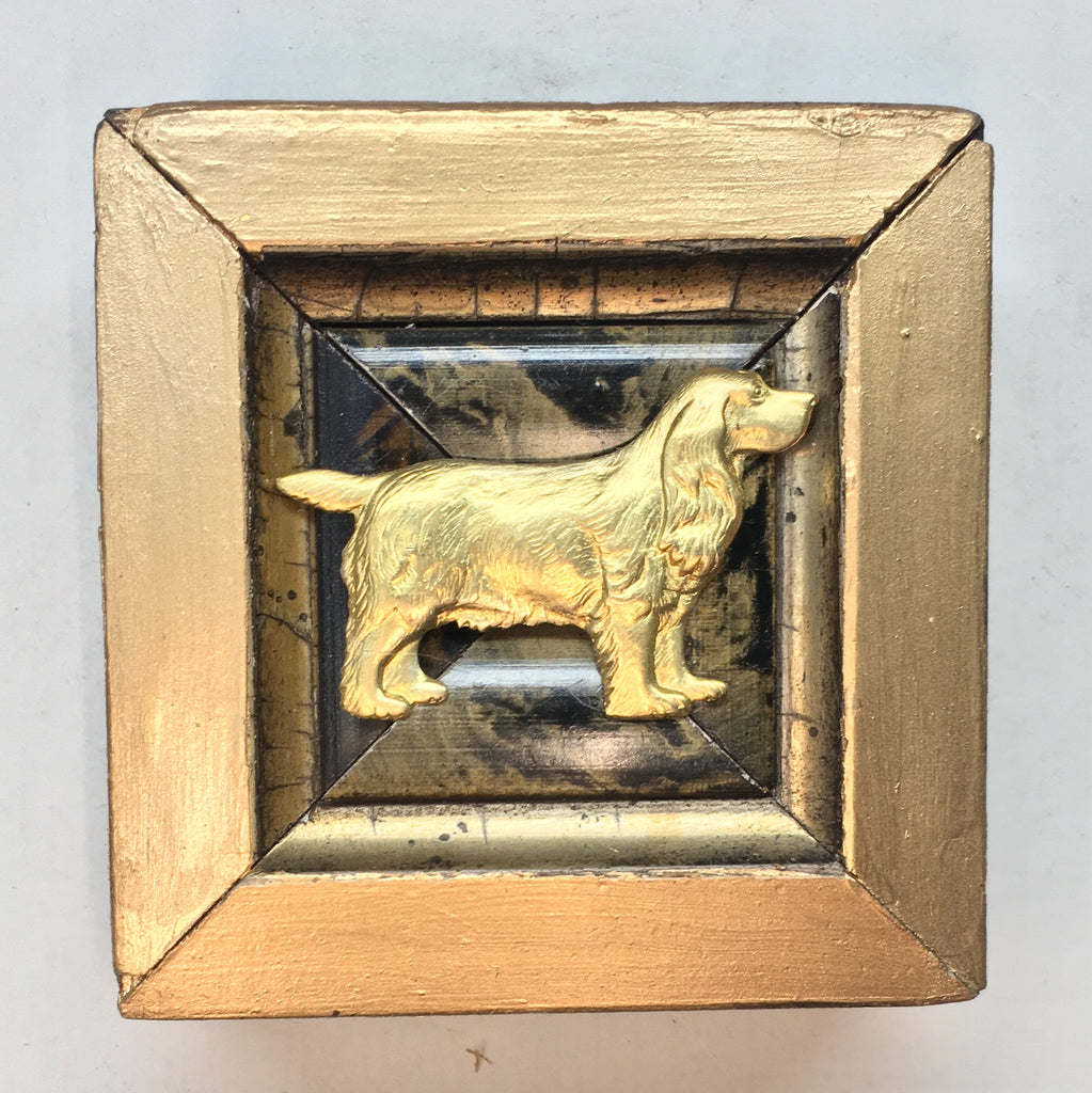 Gilt Marbled Frame with Golden Retriever (2.75