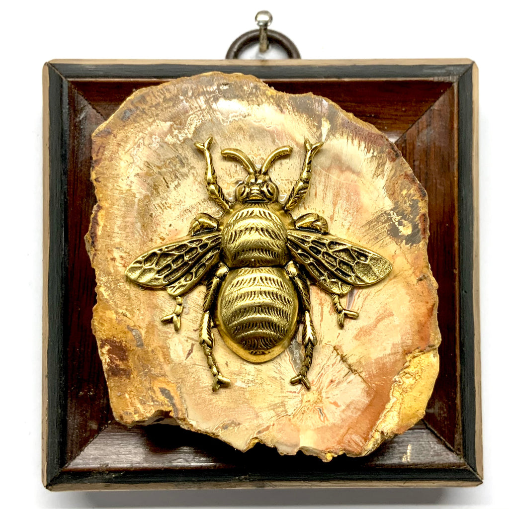 Wooden Frame with Grande Bee on Petrified Wood Piece (3