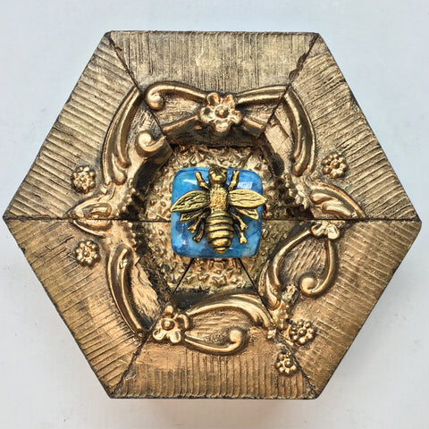 Gilt Frame with Napoleonic Bee on Turquoise Stone (3.75