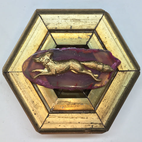 Gilt Frame with Fox on Agate Fragment (3.5