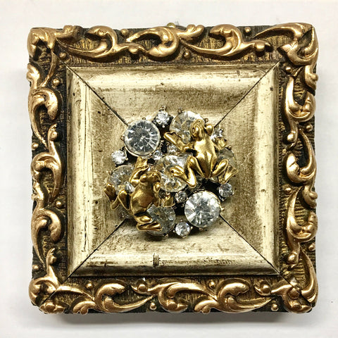 Gilt Frame with Frogs on Brooch (3