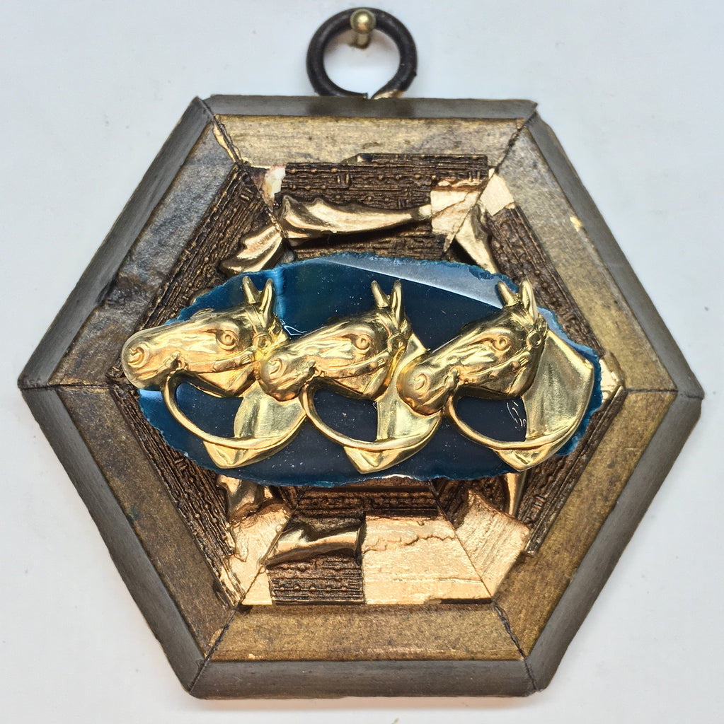 Gilt Frame with Horses on Agate Piece (3.5