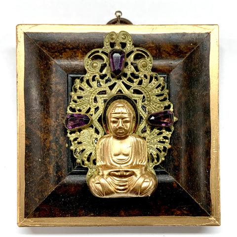Burled Frame with Buddha on Brooch (3.5