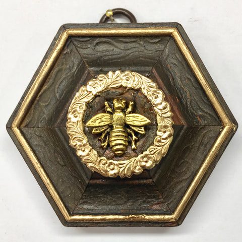Wooden Frame with Napoleonic Bee (3.25