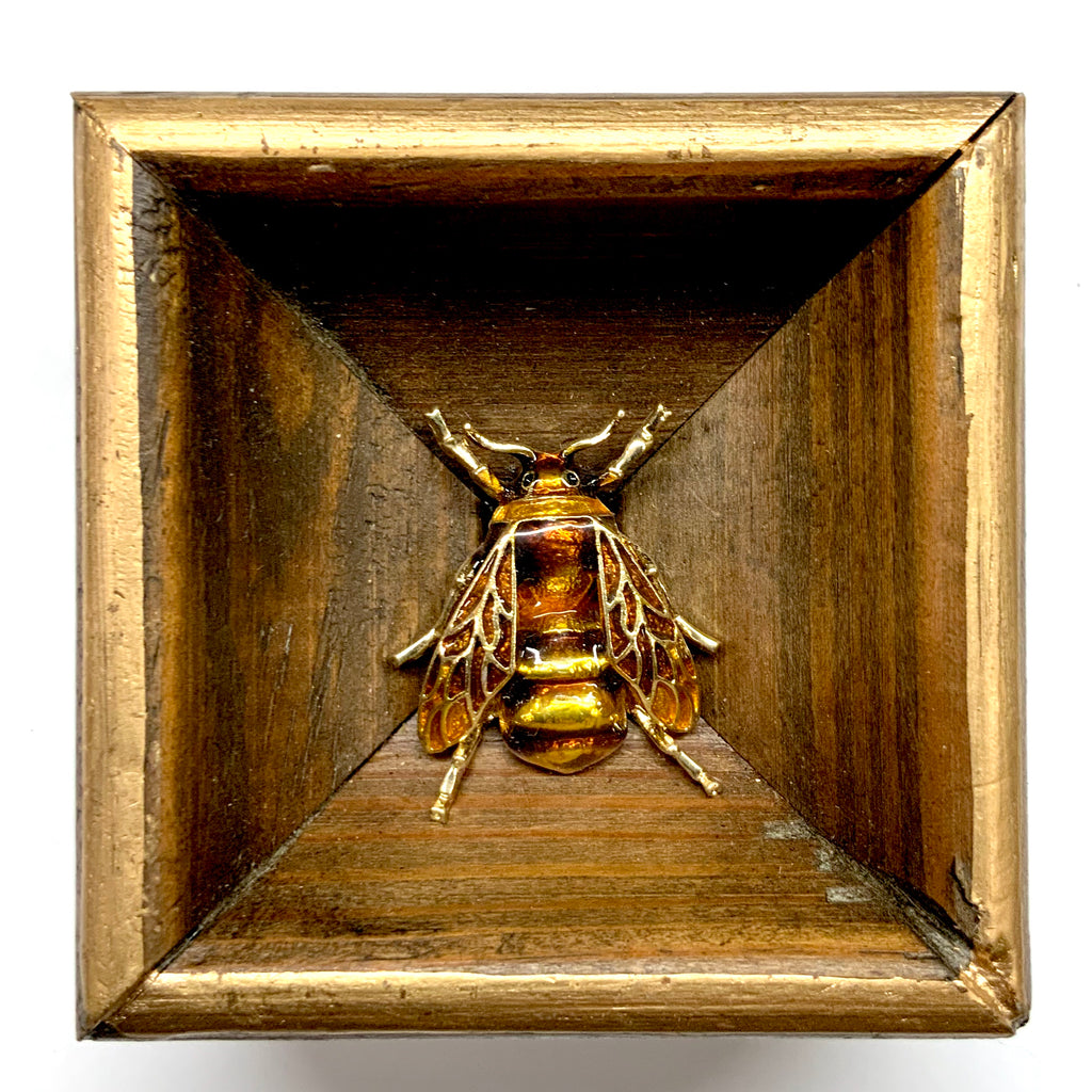 Wooden Frame with Enameled Bee (2.75