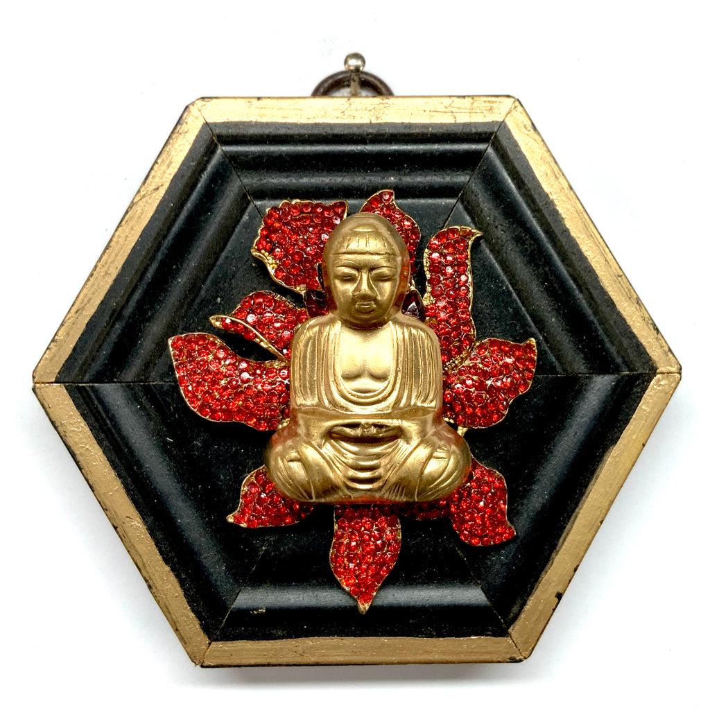 Lacquered Frame with Buddha on Brooch (3.75