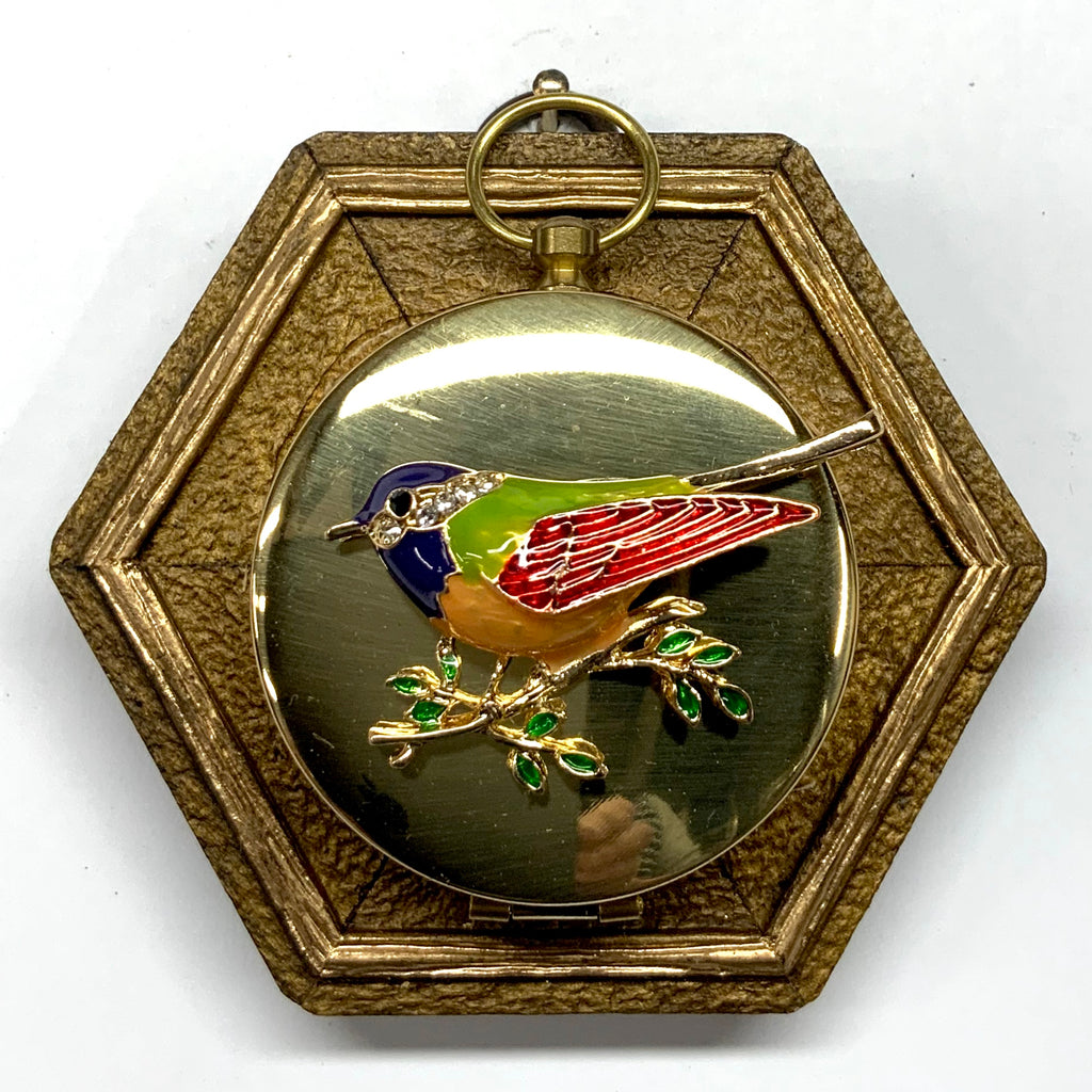 Painted Frame with Enameled Bird on Compass (3.5