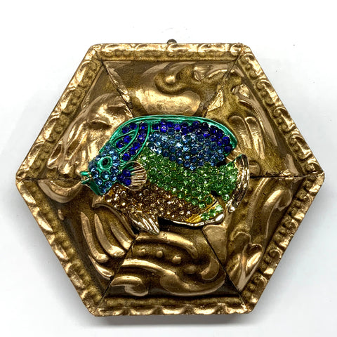 Gilt Frame with Fish Brooch (3.75