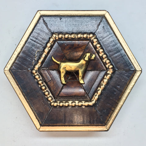Burled Frame with Golden Retriever (3.5