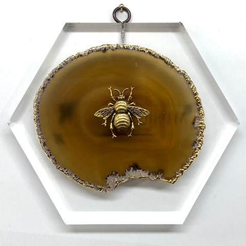 Lucite Block with Grande Bee on Agate (7