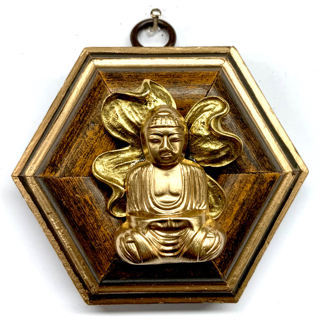 Wooden Frame with Buddha on Brooch (3.25