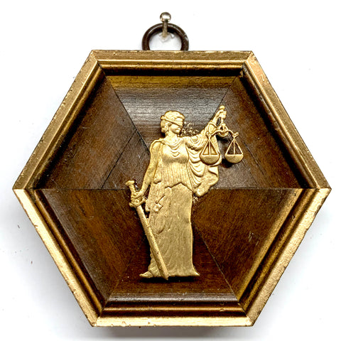 Wooden Frame with Lady Justice (3.5