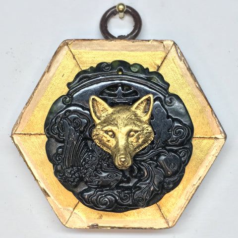 Gilt Frame with Fox on Jade Piece (2.75