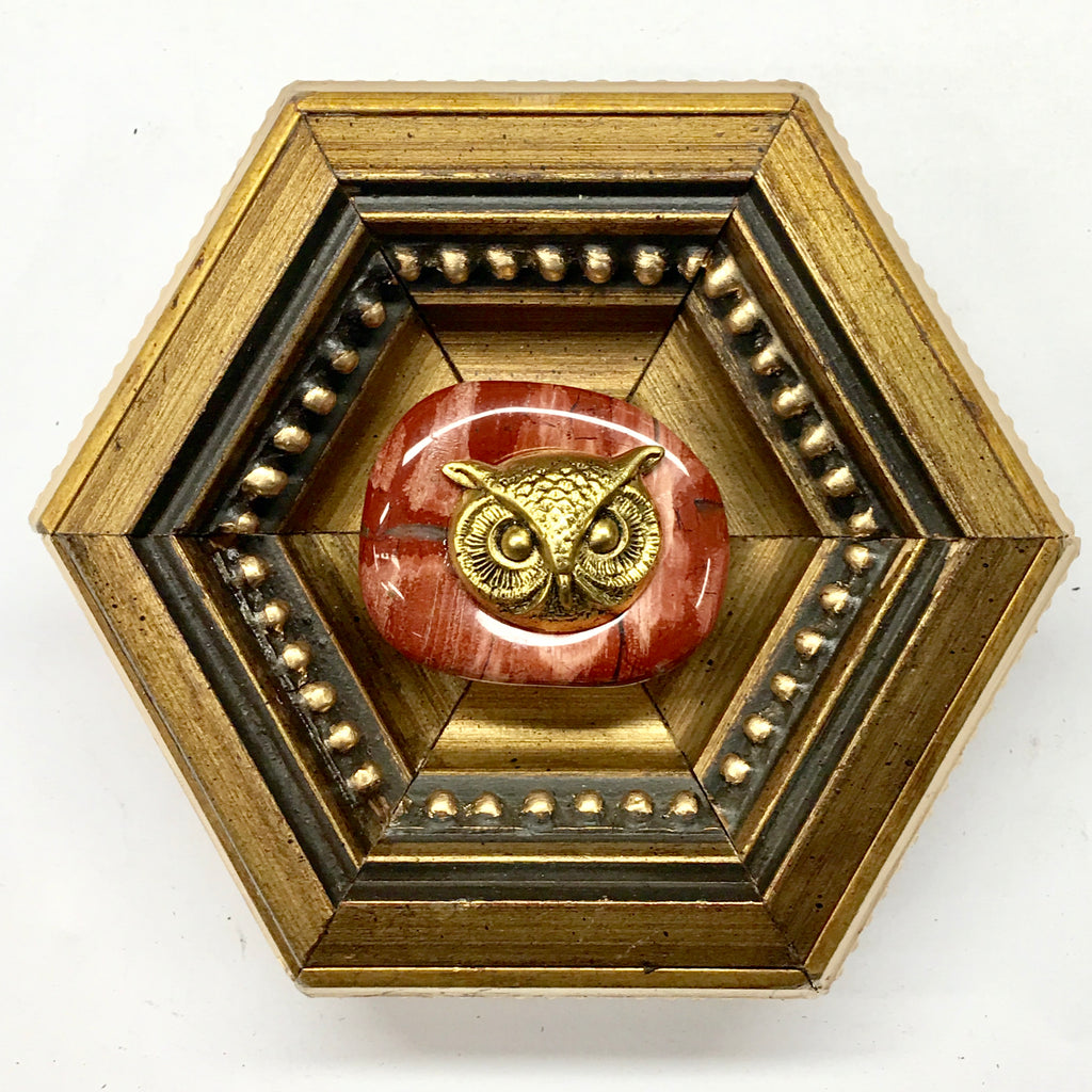Gilt Frame with Owl Head on Stone (4.75