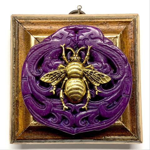 Wooden Frame with Grande Bee on Jade (3.25