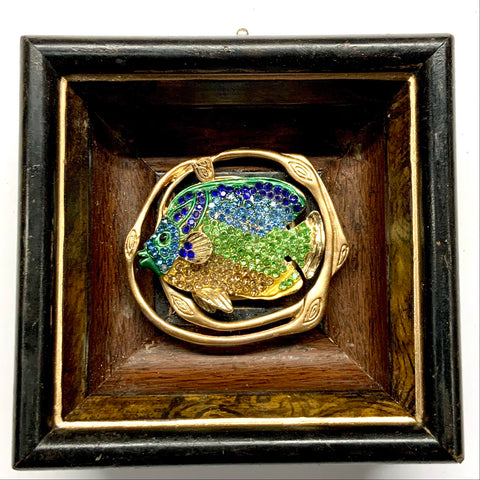 Wooden Frame with Sparkle Fish on Brooch (4