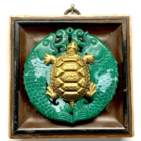 Wooden Frame with Turtle on Jade (3.75