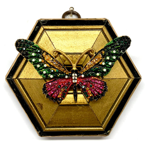 Lacquered Frame with Sparkle Butterfly Brooch (4