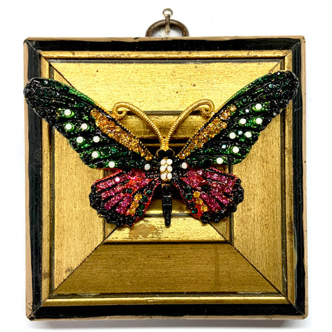 Lacquered Frame with Sparkle Butterfly Brooch (3.5