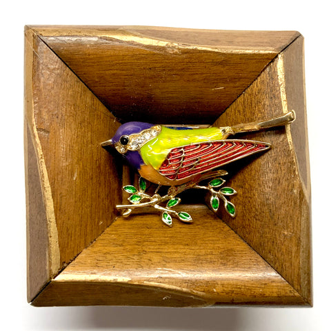 Wooden Frame with Enameled Bird (2.5