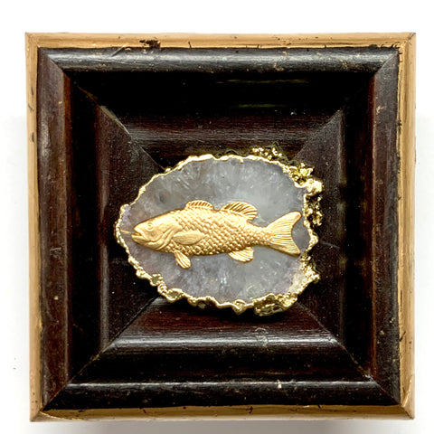 Wooden Frame with Trout on Quartz (3.25