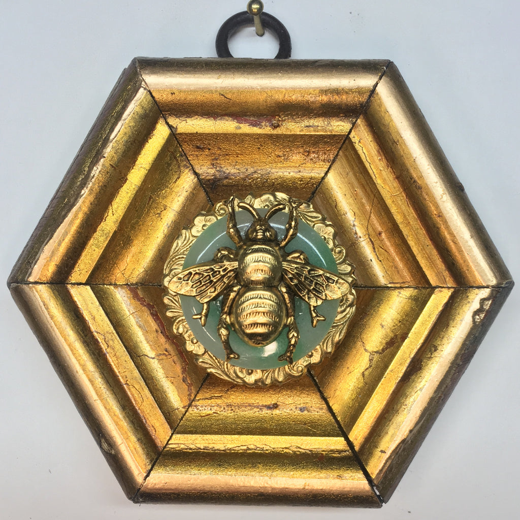 Gilt Frame with Grande Bee  on Jade Piece (3.75