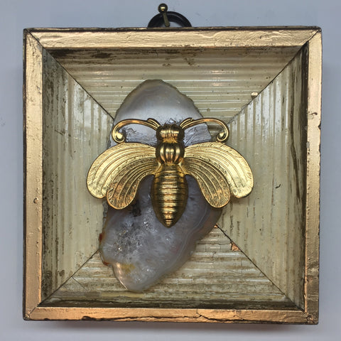 Gilt Frame with Deco Bee on Agate (3.5
