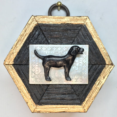 Bourbon Barrel Frame with Black Labrador on Chinese Mother of Pearl Piece (2.5