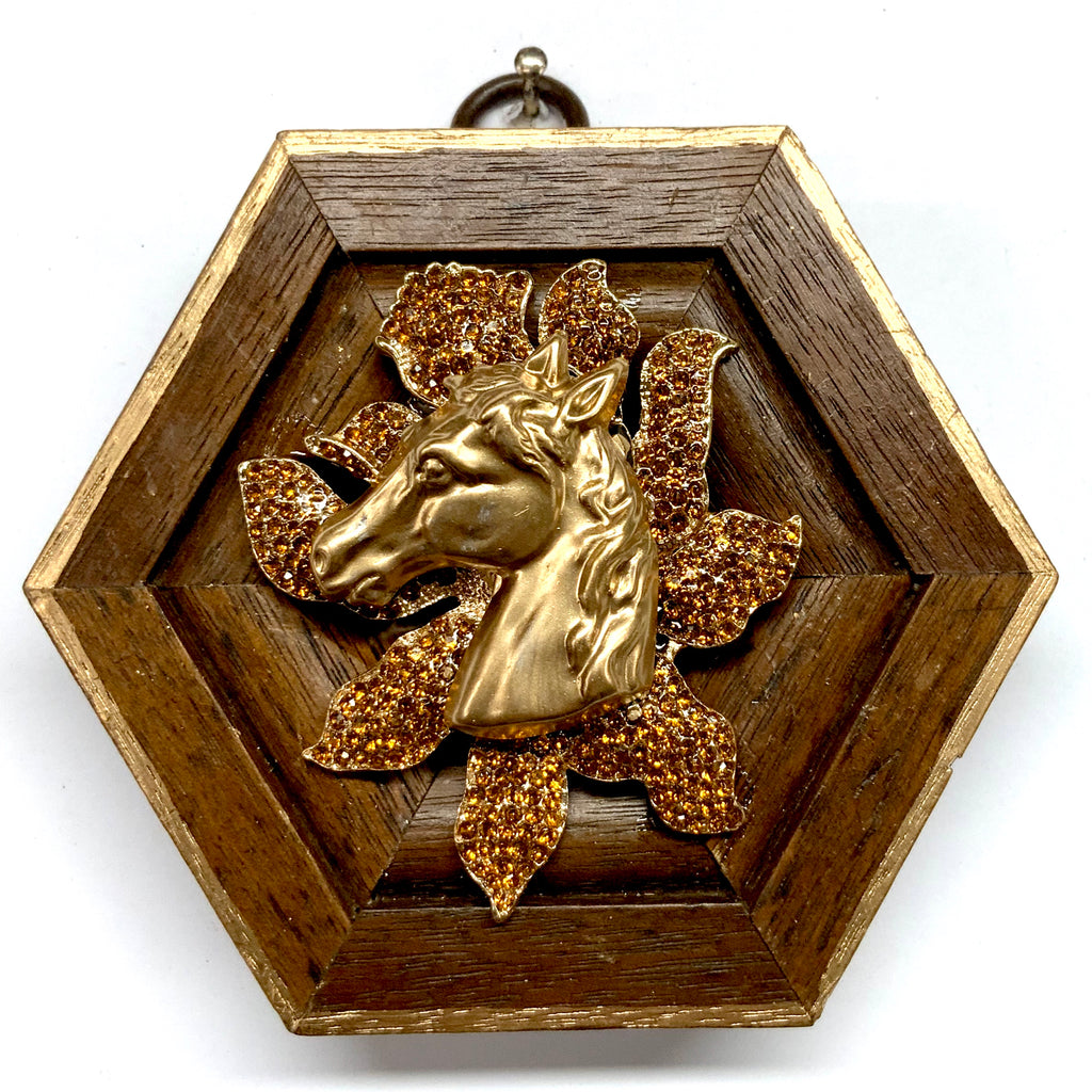 Wooden Frame with Horse on Brooch (3.75