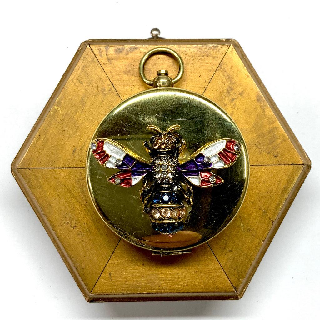 Gilt Frame with Enameled Bee on Compass (3.75