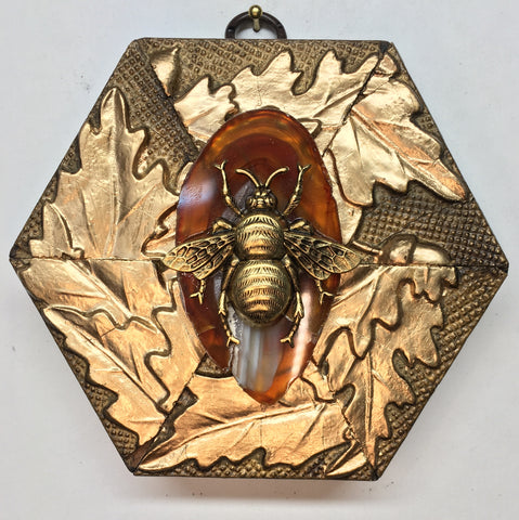 Gilt Frame with Grande Bee on Agate Piece (4.5