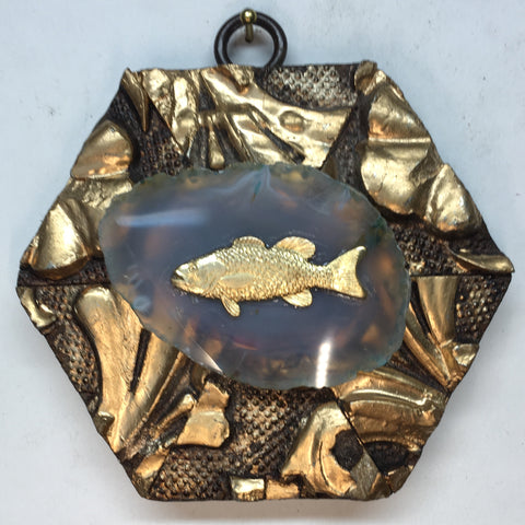 Gilt Frame with Fish on Agate (3.75