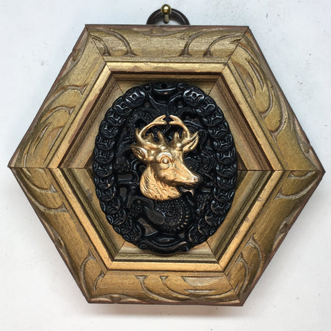 Gilt Frame with Stag on Jade Piece (4