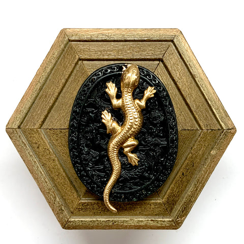 Painted Frame with Lizard on Jade (3.75