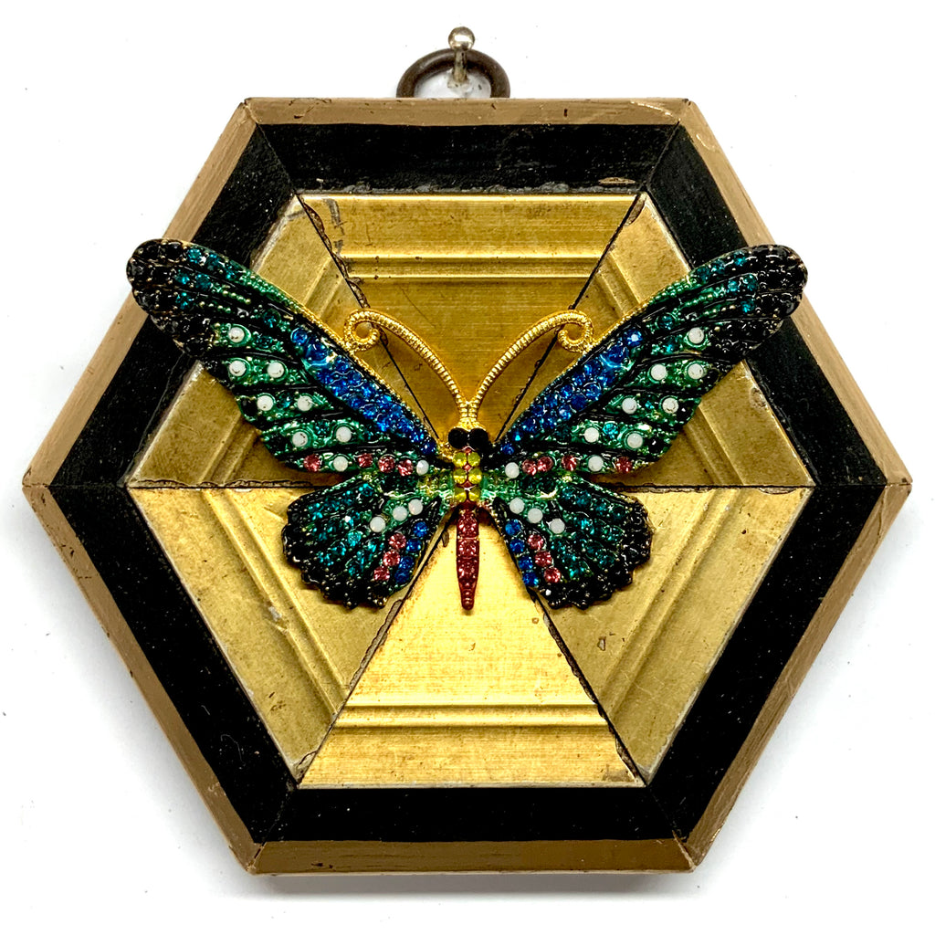 Lacquered Frame with Sparkle Butterfly Brooch (4.25
