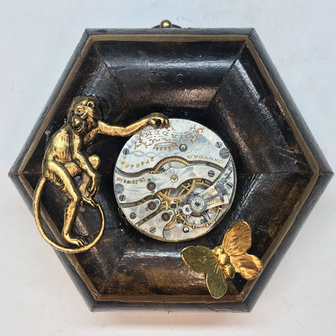 Burled Frame with Monkey and Butterfly around Watch Movement (3
