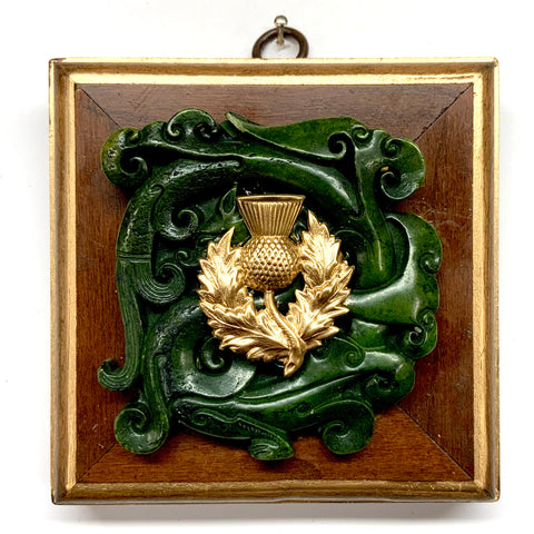 Wooden Frame with Thistle on Jade (4.25