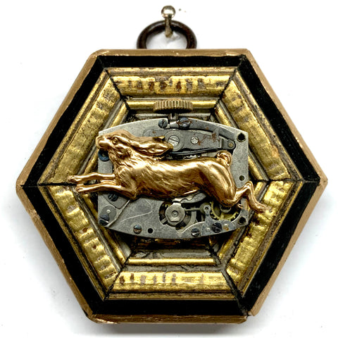 Lacquered Frame with Hare on Watch Movement (2.75