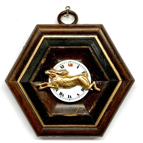 Wooden Frame with Hare on Watch Face (3.5