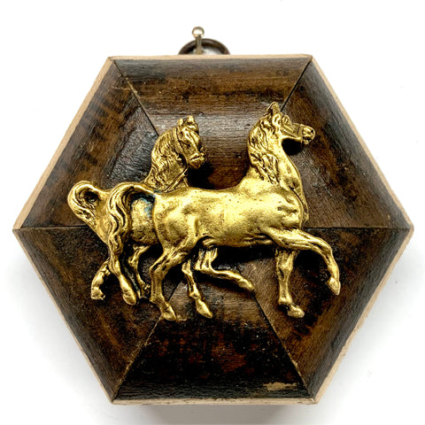 Burled Frame with Horses (3.75