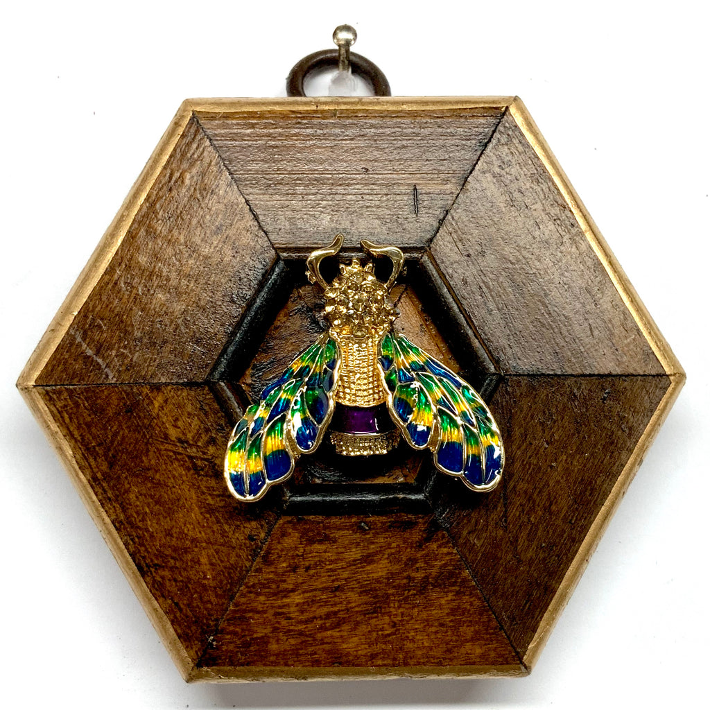 Wooden Frame with Enameled Bee (3.5