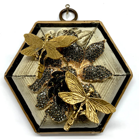 Lacquered Frame with Dragonflies on Brooch (3.75